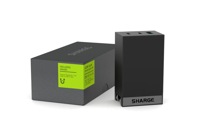 SHARGE – Worlds Smallest 3-Port GaN 65W Laptop-GadgetAny